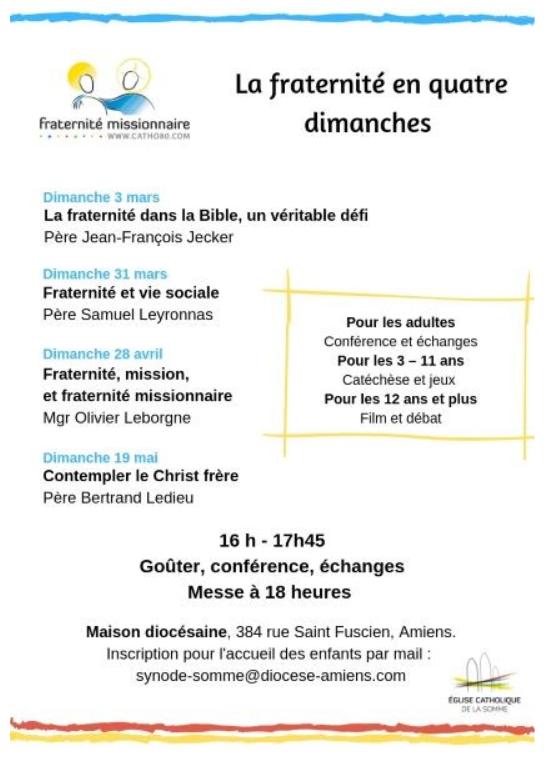 Fraternité, mission et fraternité missionnaire – Conférence de Mgr Leborgne le 28 avril 2019