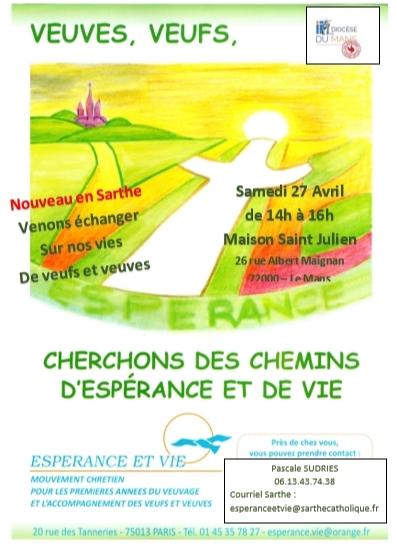Veufs et veuves: rencontre le samedi 27 avril 2019 de 14h à 16h au Mans (72)