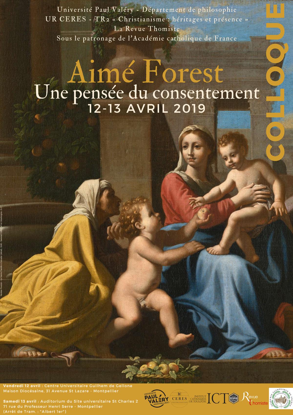 """Colloque: """"Aimé Forest, Une pensée du consentement"""" les 12 & 13 avril 2019 à Montpellier (34)"""
