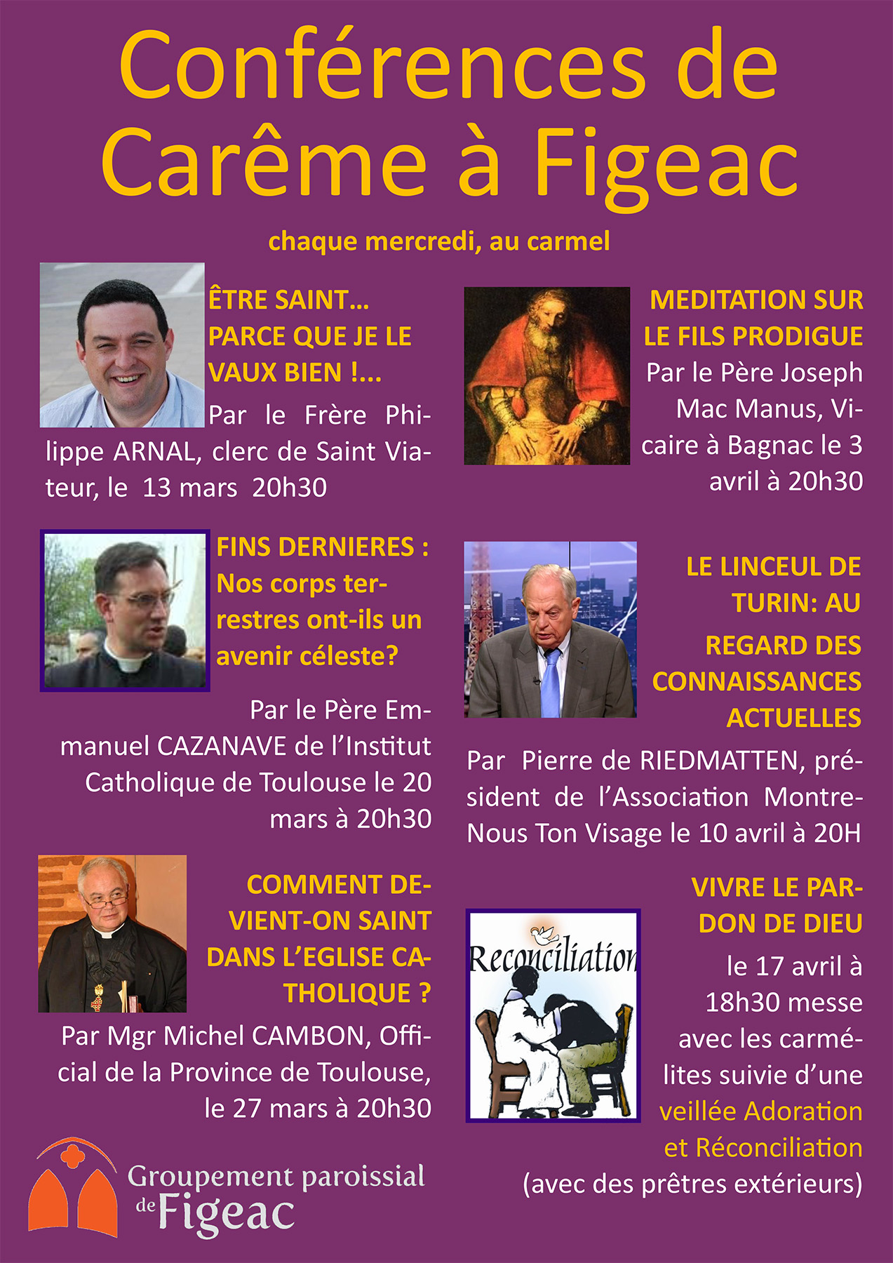 Conférences de Carême à Figeac (46) les 10 & 17 avril 2019