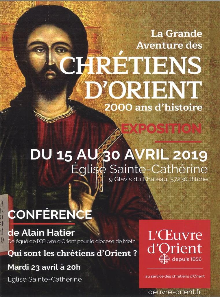 Exposition (jusqu'au 30 avril) et conférence (le 23 avril 2019) sur les chrétiens d'Orient à Bitche (57)