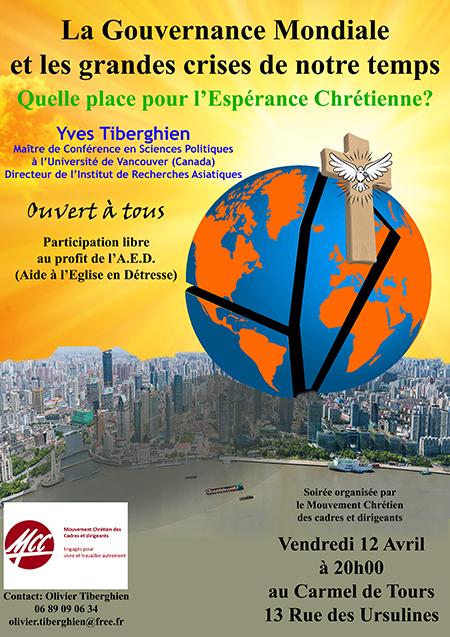 """""""La Gouvernance mondiale et les grandes crises de notre monde. Quelle place pour l'Espérance chrétienne?"""" Conférence le 12 avril 2019 à Tours (37)"""