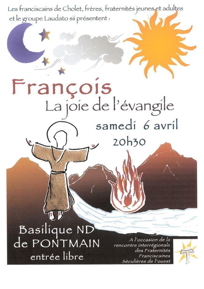 """Spectacle """"François, la joie de l'Evangile"""" le 6 avril 2019 à Pontmain (53)"""
