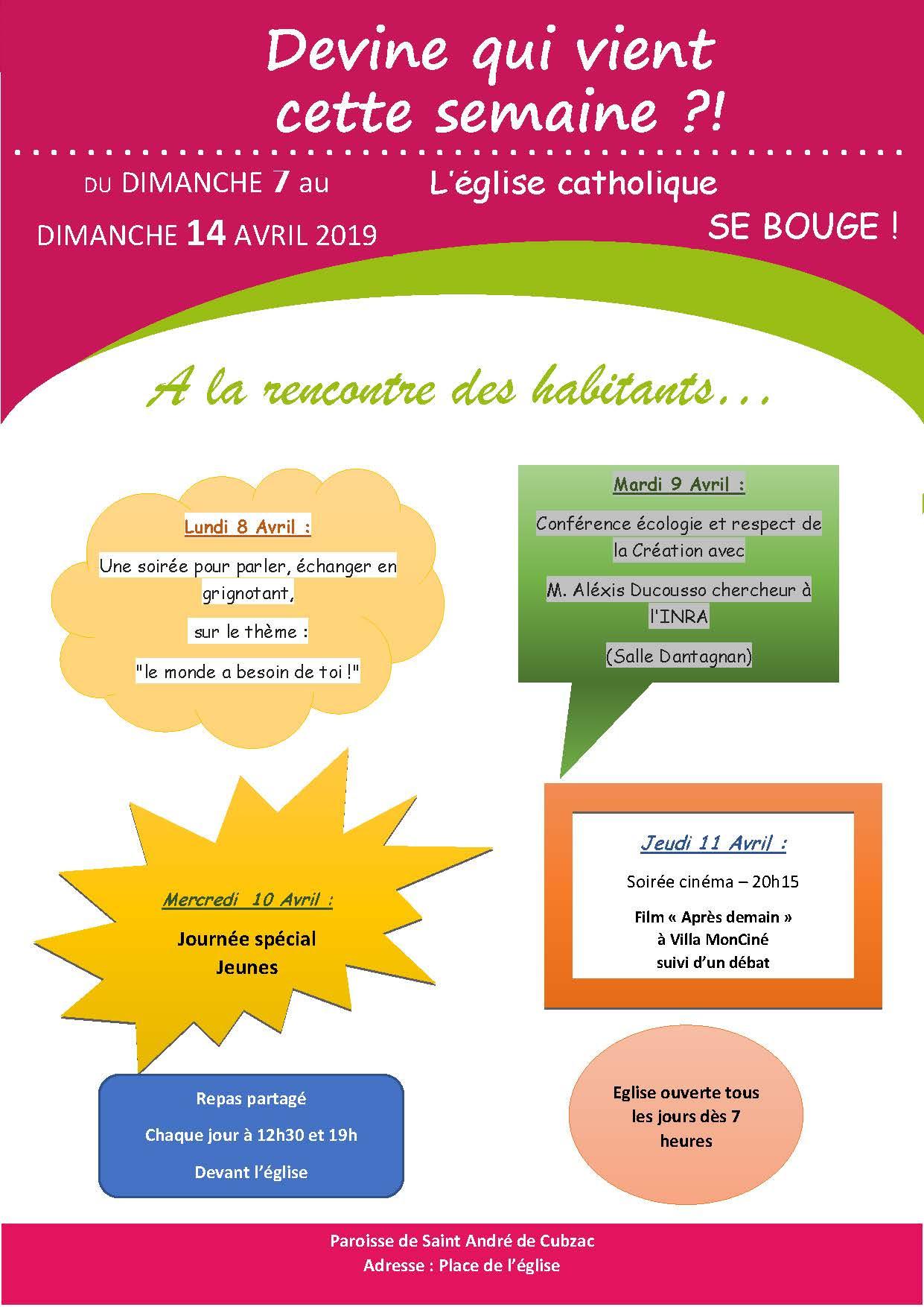 Semaine Missionnaire sur le secteur pastoral de St André de Cubzac (33) du 7 au 14 avril 2019