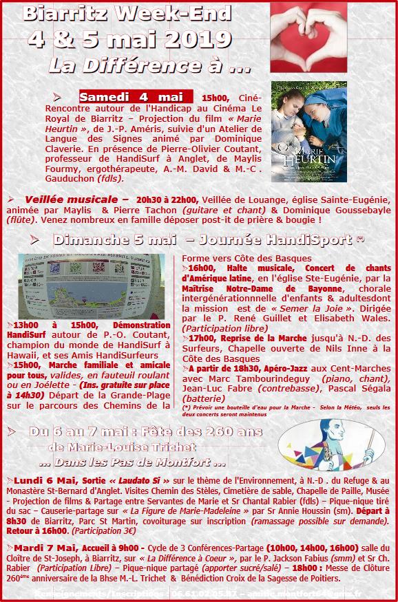 Récollection de l'Amitié montfortaine sur le handicap – du 4 au 6 mai 2019 à Biarritz (64)