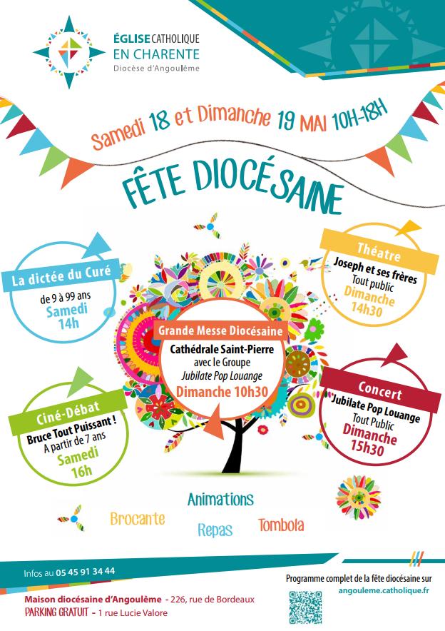 Fête du diocèse d'Angoulême (16) les 18 & 19 mai 2019