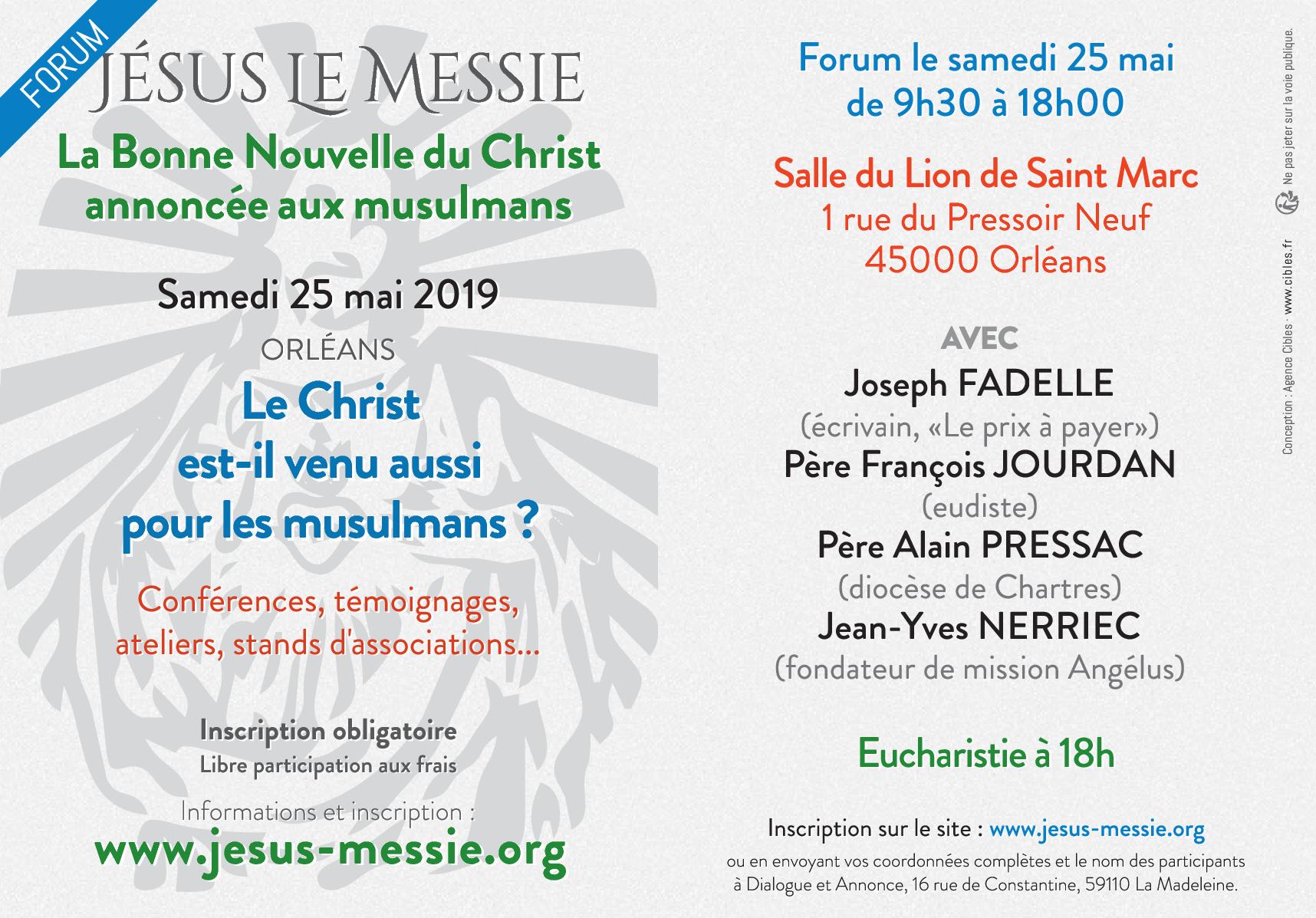 Journée de formation sur l'Islam: Le Christ est-il venu aussi pour les Musulmans? – Le 25 mai 2019 à Orléans (45)
