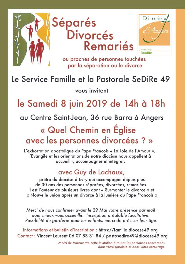 Rencontre pour les personnes Séparées, Divorcées, Divorcées vivant une nouvelle union – le 8 juin 2019 à Angers (49)