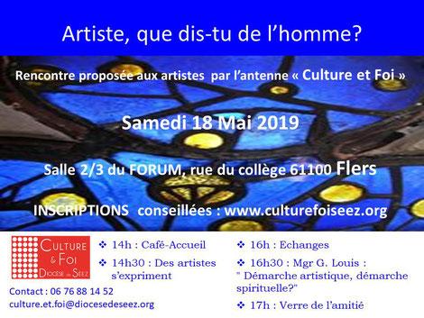 Culture et foi: rencontre avec les artistes au Forum de Flers (61) le 18 mai 2019