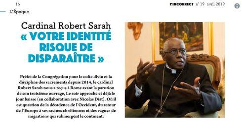 Cardinal Sarah «Ceux que vous accueillez doivent s'intégrer à votre culture»