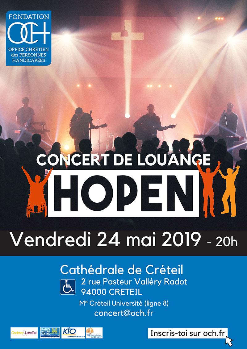 Concert de louange HOPEN le 24 mai 2019 à Créteil (94) avec la fondation OCH