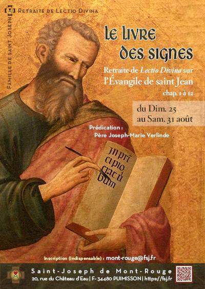 Retraite de Lectio Divina sur l'Évangile de saint Jean du 25 au 31 août 2019 à Puimisson (34)