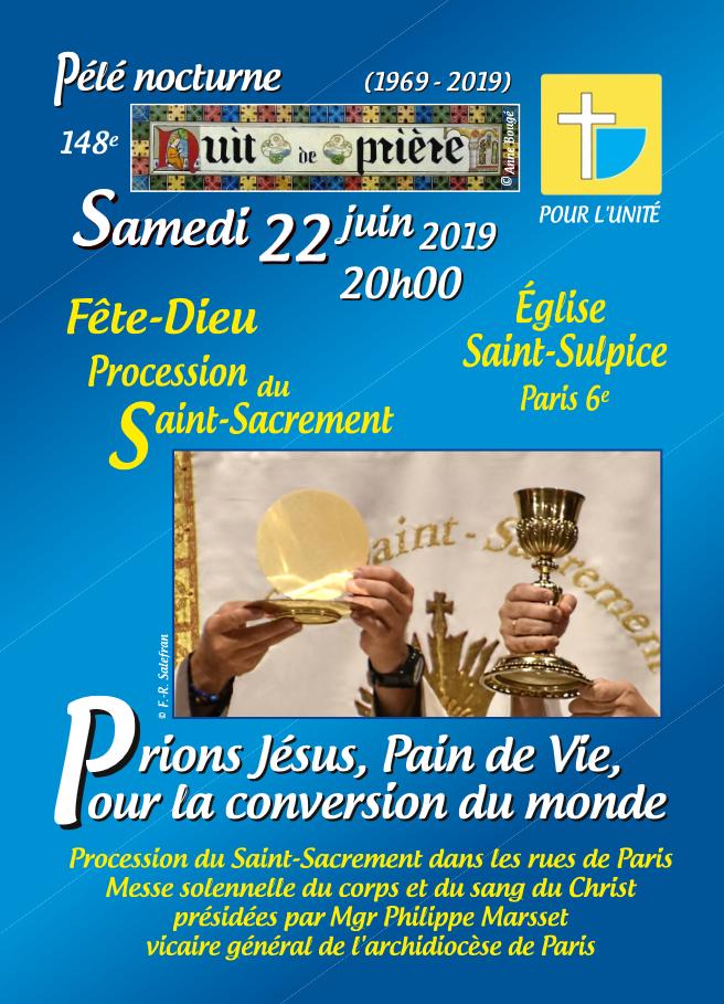 Pour l'unité – Pèlerinage nocturne le 22 juin 2019 à Paris