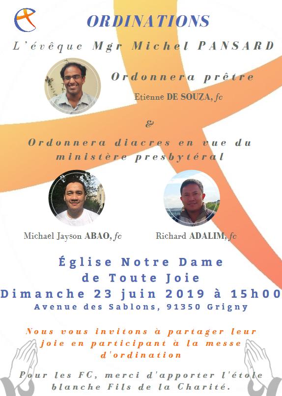 Ordinations presbytérale le 23 juin 2019 à Grigny (91)