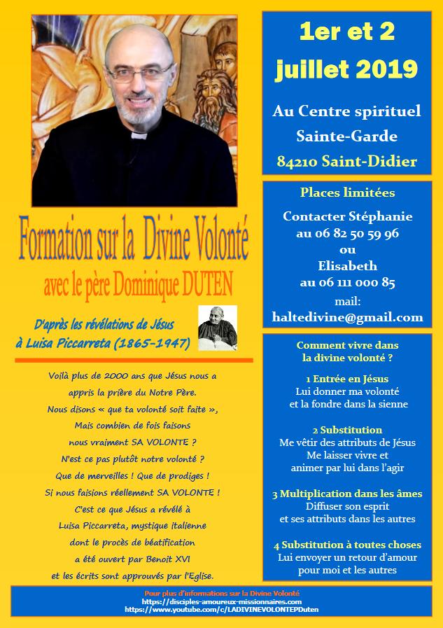 Halte Spirituelle: formation sur la Divine Volonté les 1er & 2 juillet 2019 à Saint-Didier (84)