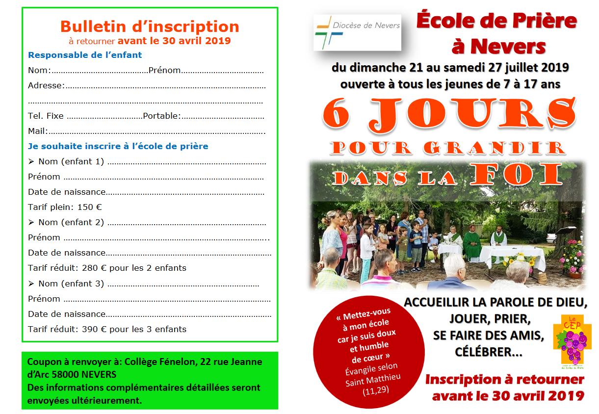 École de Prière Jeunes (EPJ) du 21 au 27 juillet 2019 à Nevers (58)