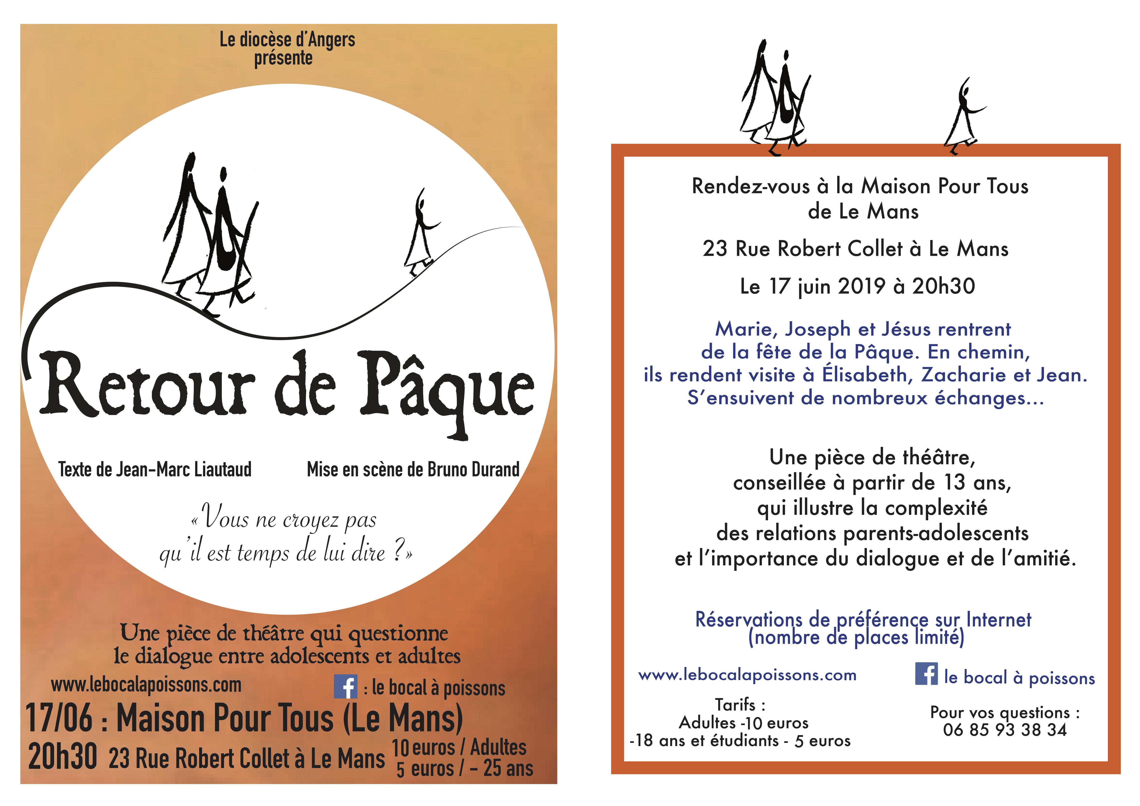 «Retour de Pâque»: Une pièce de théâtre pour faire réfléchir les adolescents – 17 juin 2019 – au Mans (72)