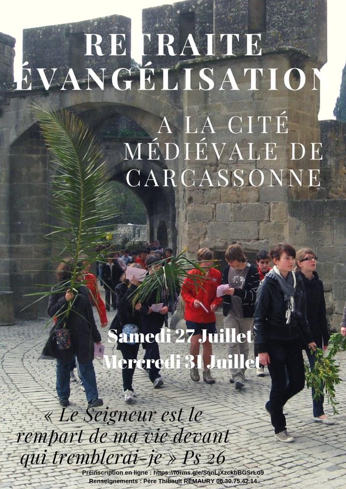 Retraite évangélisation à la Cité médiévale de Carcassonne (11) du 27 au 31 juillet 2019