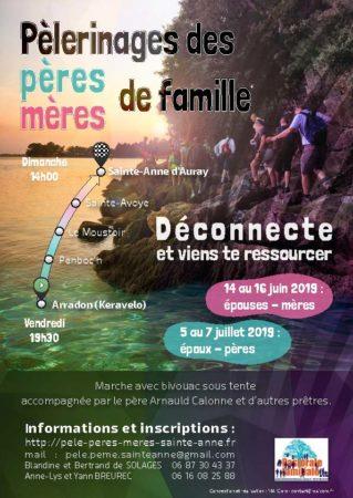 Pèlerinages des mères du 14 au 16 juin & des pères du 5 au 7 juillet 2019 d'Arradon (56) à Sainte-Anne-d'Auray (56)