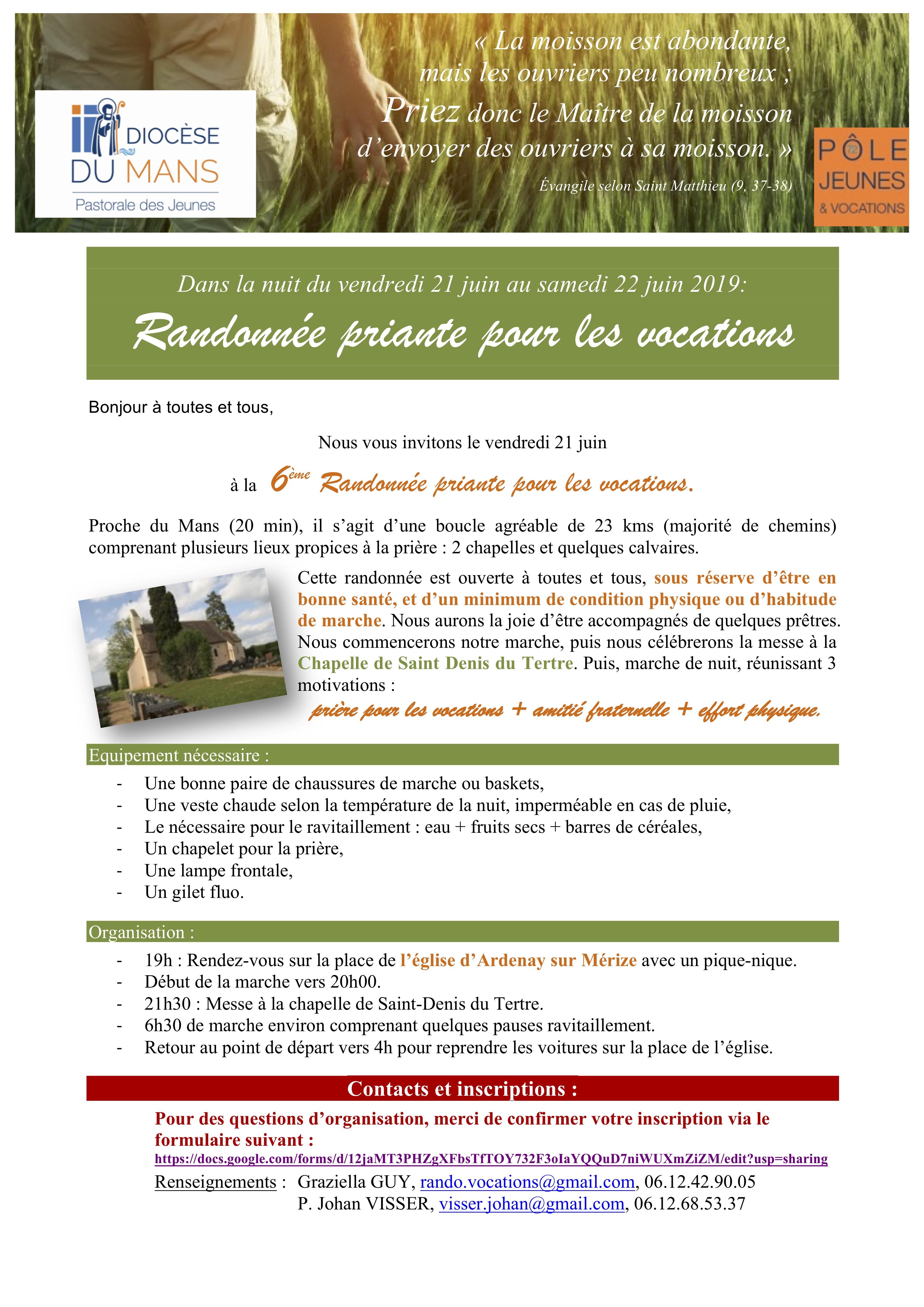 Randonnée nocturne pour les vocations: 21 juin 2019 à Ardenay-sur-Mérize (72)