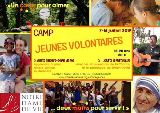 Camp Service et Prière organisé par la communauté de Notre-Dame de Vie – du 7 au 16 juillet 2019 à Venasque (84) et Marseille (13)
