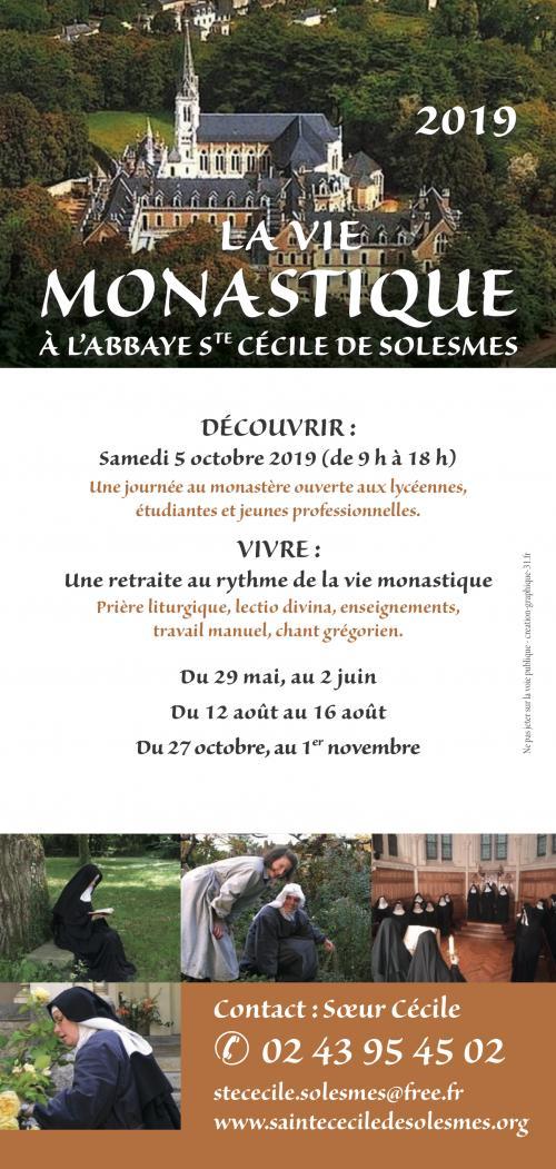 (Jeunes Femmes) Vivre une retraite au rythme de la vie monastique à l'abbaye Sainte Cécile de Solesmes (72): 12 au 16 août 2019