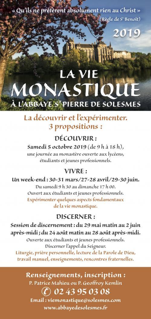 (Jeunes Hommes) Discerner un appel à la vie monastique à l'abbaye Saint Pierre de Solesmes (72): du 24 au 28 août 2019