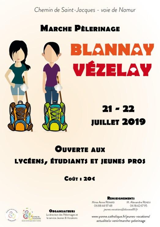Marche pèlerinage les 21 & 22 juillet 2019 entre Blannay (89) et Vézelay (89)