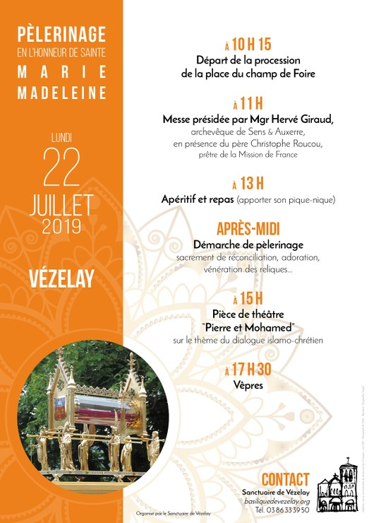 Pèlerinage à la suite de sainte Marie Madeleine le 22 juillet 2019 à Vézelay (89)
