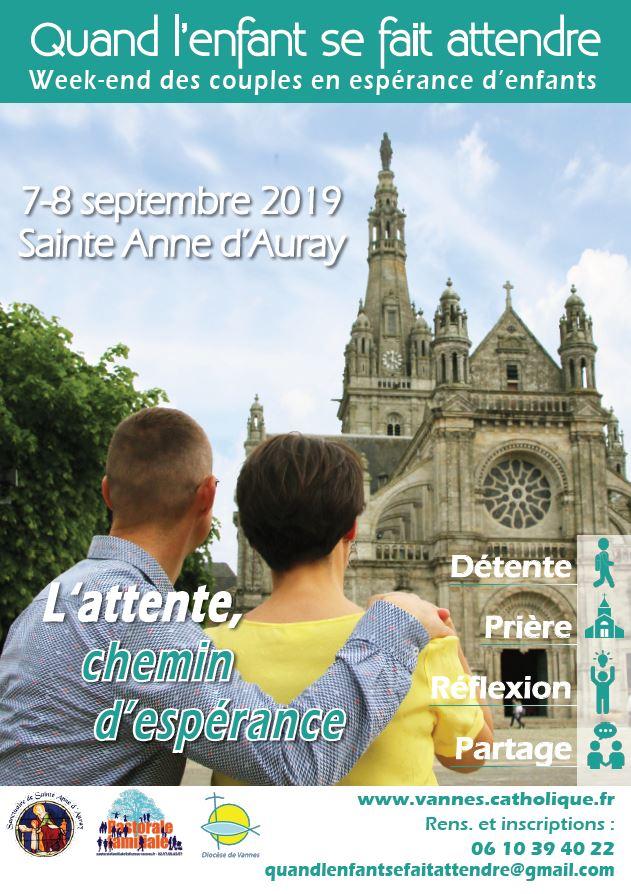 Week-end pour les couples en attente d'enfant les 7 & 8 septembre 2019 à Sainte-Anne-d'Auray (56)