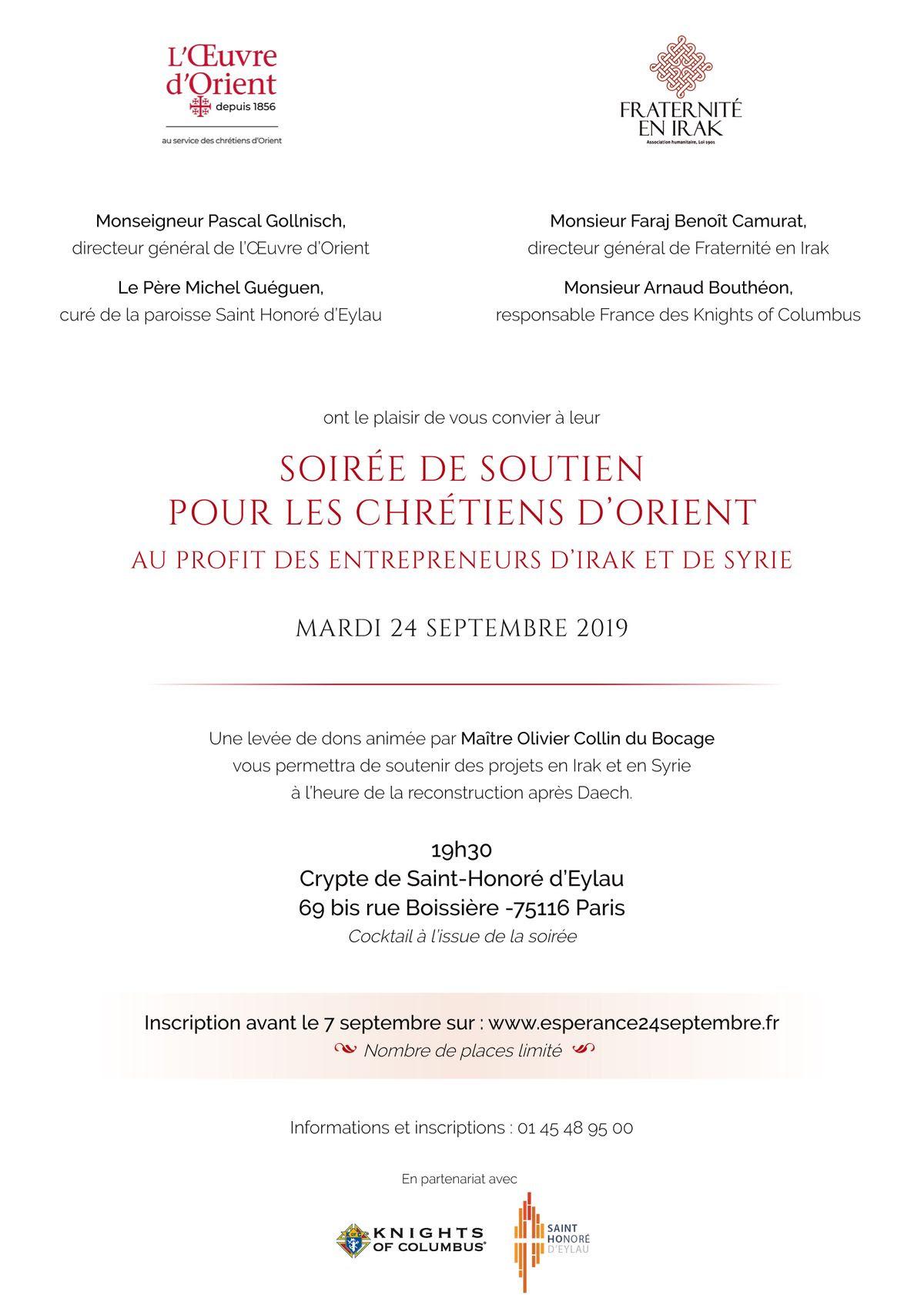 Soirée exceptionnelle avec Fraternité en Irak et l'Œuvre d'Orient le 24 septembre 2019 à Paris