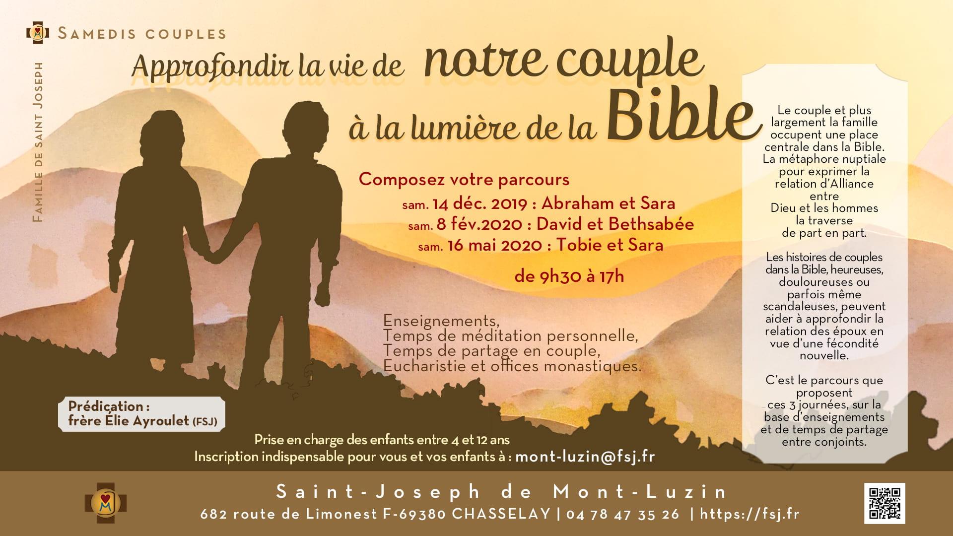 Samedis couples avec la Famille de saint Joseph les 14 décembre, 8 février 2019 & 16 mai 2010 à Chasselay (69)