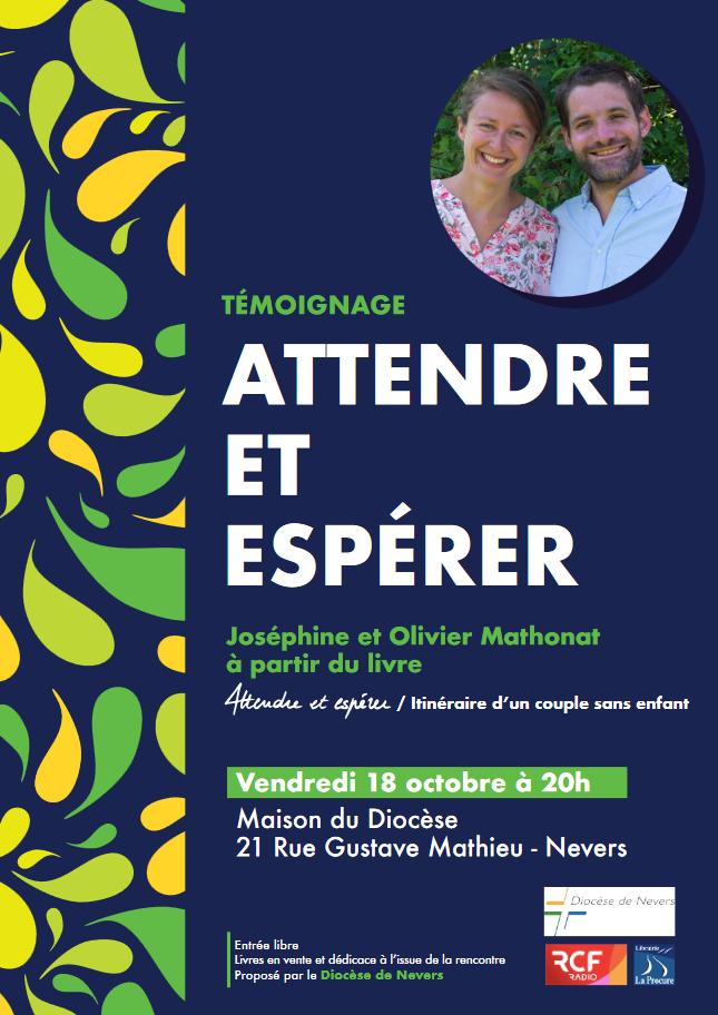 """Conférence """"Attendre et espérer – Itinéraire d'un couple sans enfant"""" le 18 octobre 2019 à Nevers (58)"""