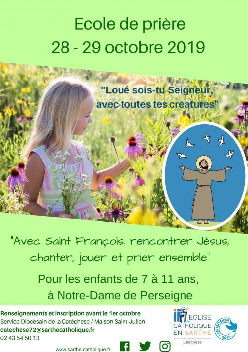 Ecole de prière pour les enfants les 28-29 octobre 2019 à Notre-Dame de Perseigne (72)
