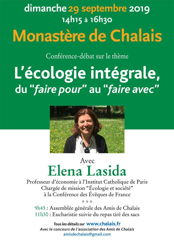 Conférence d'Elena Lasida sur l'Ecologie intégrale le 29 septembre au Monastère de Chalais (38)