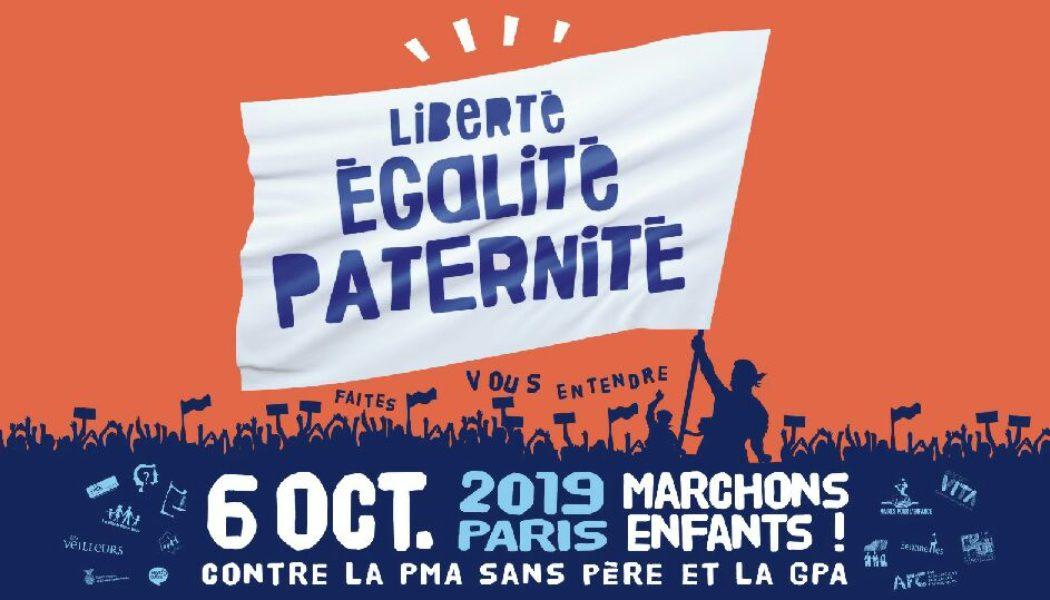 Grande journée de mobilisation contre la PMA sans père et la GPA le 6 octobre 2019 à Paris