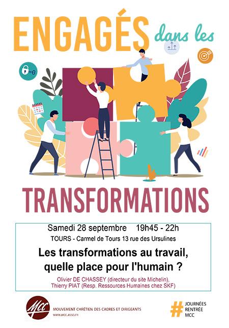 """Conférence: """"les transformations au travail: quelle place pour l'humain?"""" le 28 septembre 2019 à Tours (37)"""