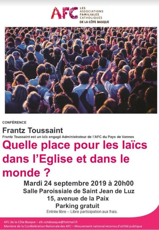 Conférence sur la mission des laïcs dans l'Eglise et dans le monde le 24 septembre 2019 à Saint-Jean-de-Luz (64)
