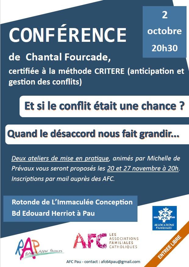 """Conférence de Chantal Fourcade: """"Et si le conflit était une chance?"""" le 2 octobre 2019 à Pau (64)"""