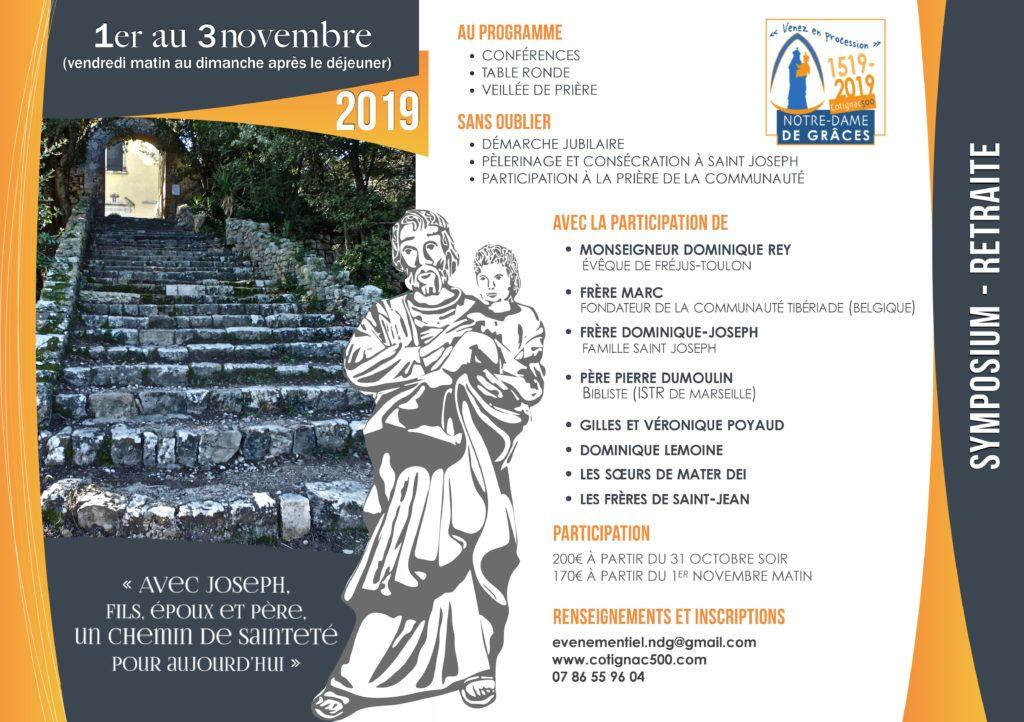 Symposium – Retraite sur saint Joseph du 1er au 3 novembre 2019 à Cotignac (83)
