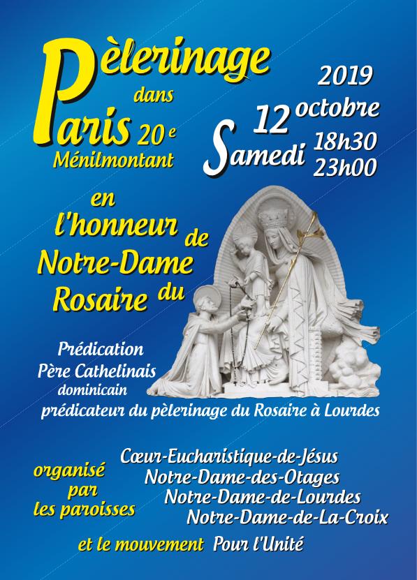 Pèlerinage – Samedi 12 octobre 2019 en l'honneur de Notre-Dame du Rosaire à Paris