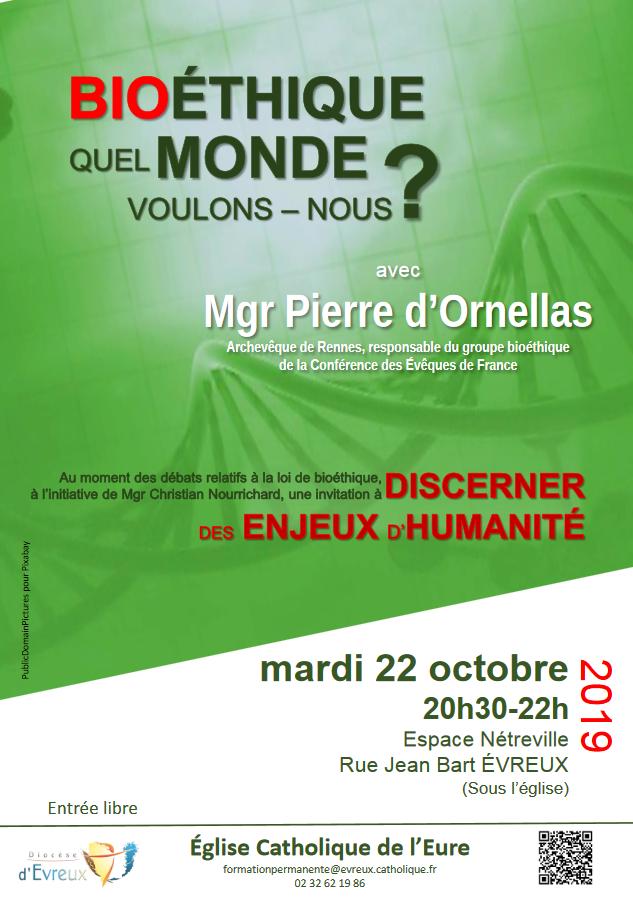 Conférence Bioéthique: quel monde voulons nous? le 22 octobre 2019 à Evreux (27)