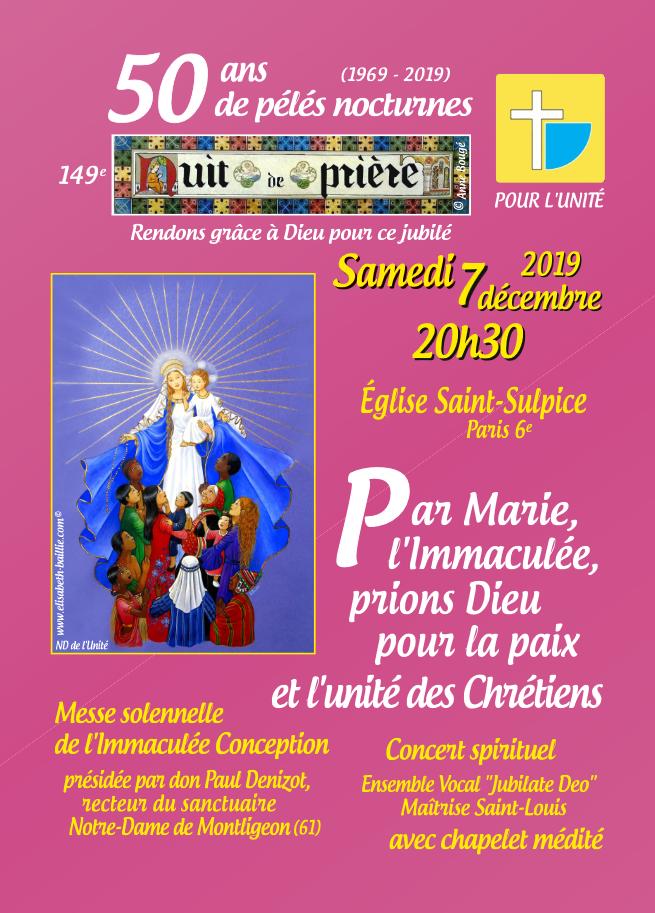 Pour l'Unité: 50 ans de pélés nocturnes (149e nuit de prière) le 7 décembre 2019 à Paris