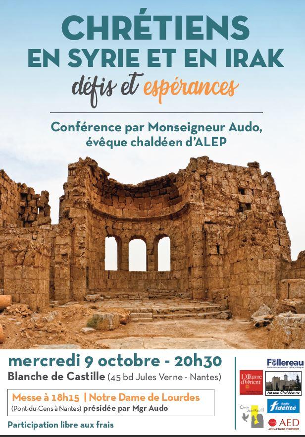 Conférence «Chrétiens en Syrie et en Irak, défis et espérances» le 9 octobre 2019 à Nantes (44)
