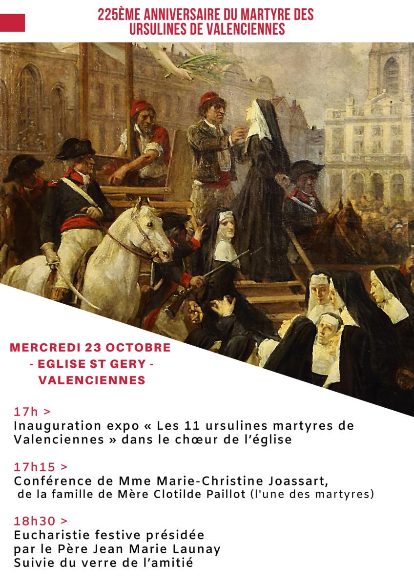 225ème anniversaire du martyre des 11 Bienheureuses Ursulines de Valenciennes (59) le 23 octobre 2019