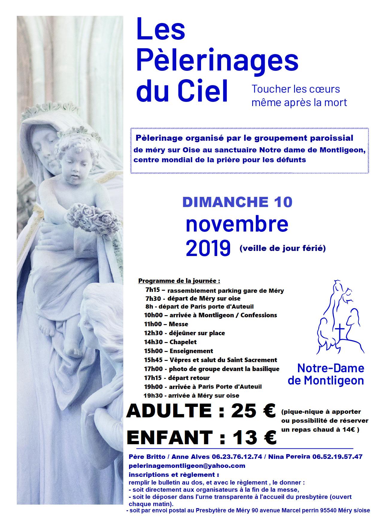 Pèlerinage en car pour Montligeon (61) au départ de Paris et de Méry-sur-Oise (95) en faveur des défunts et des âmes du purgatoire le 10 novembre 2019