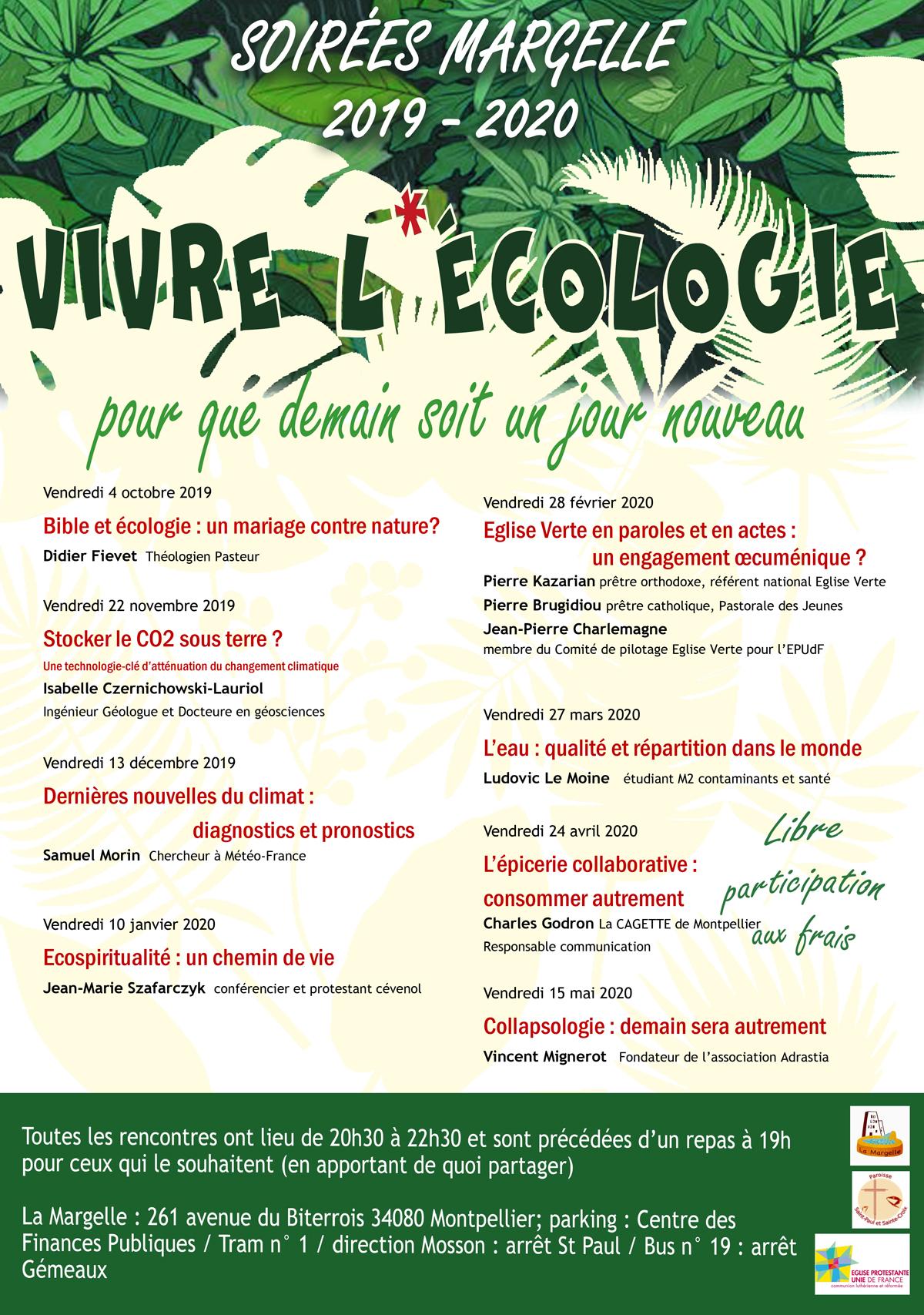 Soirées de la Margelle – Vivre l'écologie – 4 octobre, 22 novembre, 13 décembre, 10 janvier, 28 février, 27 mars, 24 avril & 15 mai à Montpellier (34)