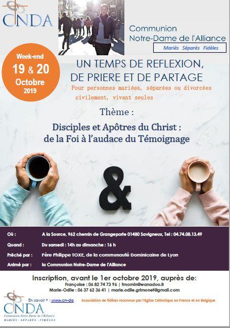 Récollection Communauté Notre-Dame de l'Alliance les 19 & 20 octobre 2019 à Savigneux (01)