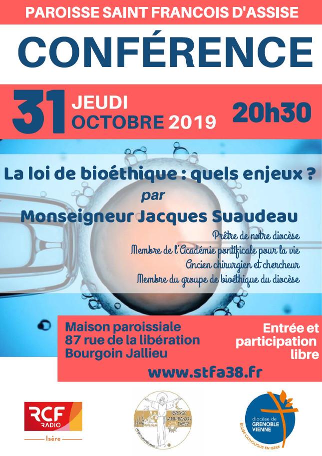 Conférence: La Loi bioéthique: quels enjeux?  Le 31 octobre 2019 à Bourgoin-Jallieu (38)