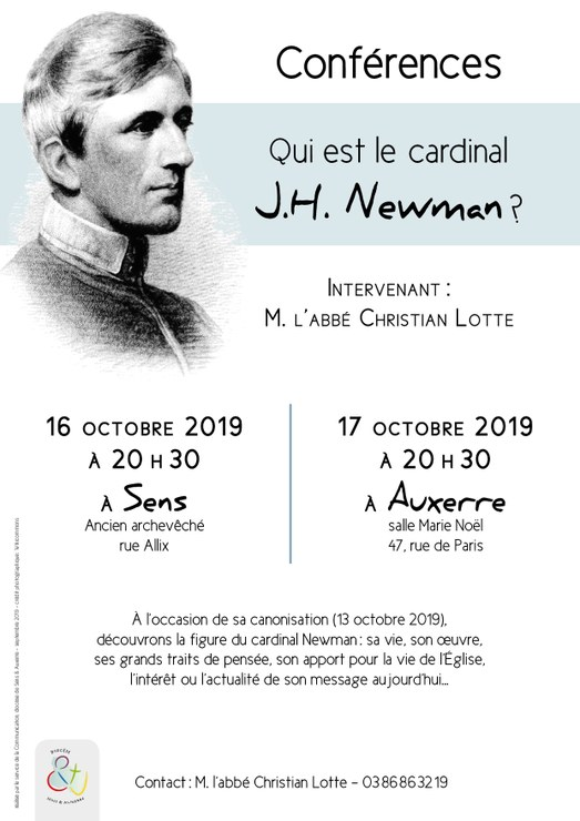"""Conférence """"Qui est le cardinal Newman?"""" le 16 octobre 2019 à Sens (89) & le 17 octobre à Auxerre (89)"""